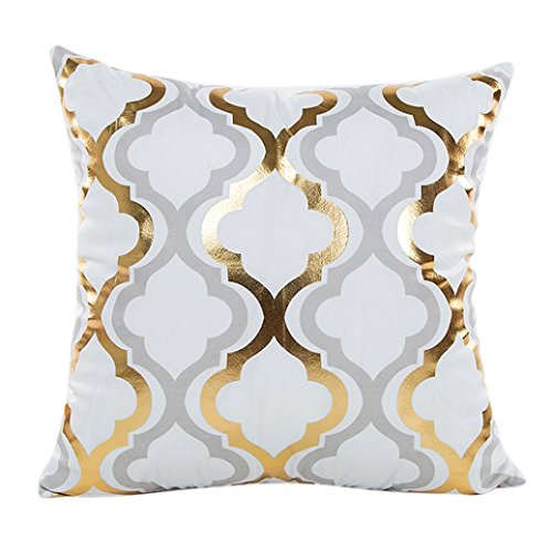TOOPOOT Gold Foil Print Pillow Sofa Waist Cushion PillowCase (c1) (Cupid Costumes Pattern)