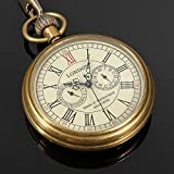 Scott ALlah Design - Vintage Antique Bronze Steampunk Quartz Mechanical Skeleton Pocket Watch Chain