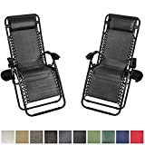 Sunnydaze Charcoal Outdoor Zero Gravity Lounge Chair with Pillow and Cup Holder, Set of Two