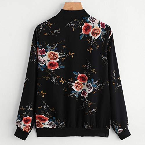 Cardigan Coatwear Manteau Zipper BaZhaHei de Mode Fleurie Noir Veste Imprimer Baseball Chemisier Bomber Femme Chic PpqZw7