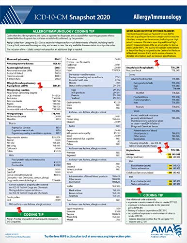 Allergy/Immunology (ICD-10-CM 2020 Snapshot Coding Card) American Medical Association