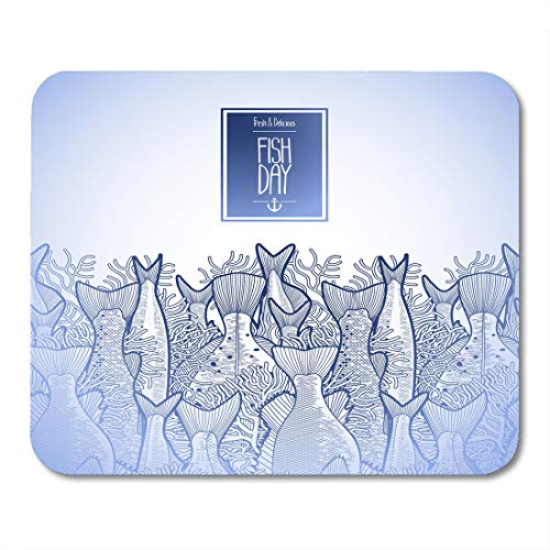 Boszina Mouse Pads Blue Kid Graphic Ocean Fish Drawn in Line Style Endless Border Sea Creatures for Seafood Design White Mouse Pad for notebooks,Desktop Computers mats 9.5