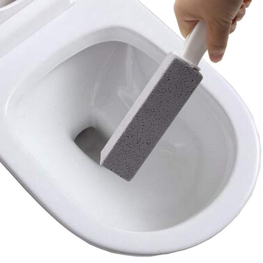 LouiseEvel215 2 St/ücke Toilettenb/ürsten Nat/ürliche Bimsstein Reinigung Steinreiniger Pinsel Mit Langen Griff f/ür Toiletten Waschbecken Badewannen