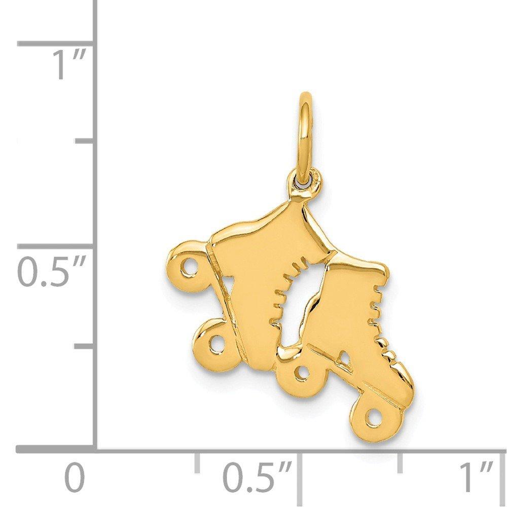 14K Yellow Gold Polished Roller Skates Charm Pendant