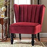 Harper&Bright Design Accent Chair Armless Chair Leisure Chair Living Room Furniture Chair Sofa Chair with Rubber Wood Legs (Red)