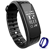 """Waterproof Fitness Tracker - Heart rate monitor Smart Watch Bracelet Wristband for Sports - Sleep Monitor HR Calories Pedometer with Bluetooth OLED 0.91"""" display for Android iOS"""