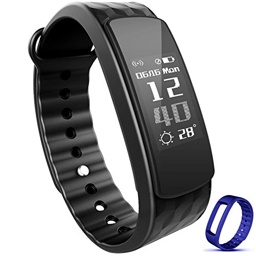 "Waterproof Fitness Tracker ,Heart rate monitor Smart Watch Bracelet Wristband for Sports, Sleep Monitor HR Calories Pedometer with Bluetooth OLED 0.91"" display for Android iOS"