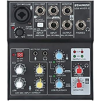 aokeo 4 channel 2 band eq sound card audio mixer usb audio interface 48v phantom. Black Bedroom Furniture Sets. Home Design Ideas