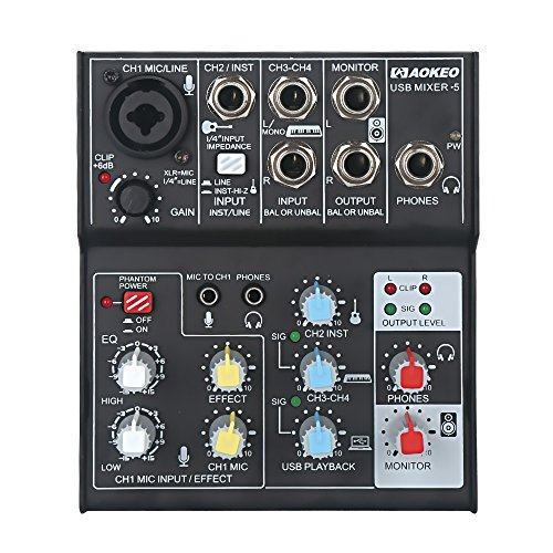 2 Channel Sound Card - Aokeo 4-Channel/ 2-Band EQ Sound Card Audio Mixer USB Audio Interface, 48V Phantom Power Supply For Condenser Mic - Record On The Computer/Laptop/Macbook/Etc. (Mixer-5)