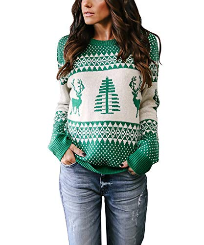Women Pullover Sweaters Holiday Reindeer Tree Patterns Crew-Neck Knit Sweater Long Sleeve,S-XL (Green, M)