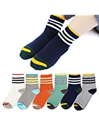 Queen-Ks Unisex-Kids Three Bars Striped Contrast Cotton Socks 6 Pairs
