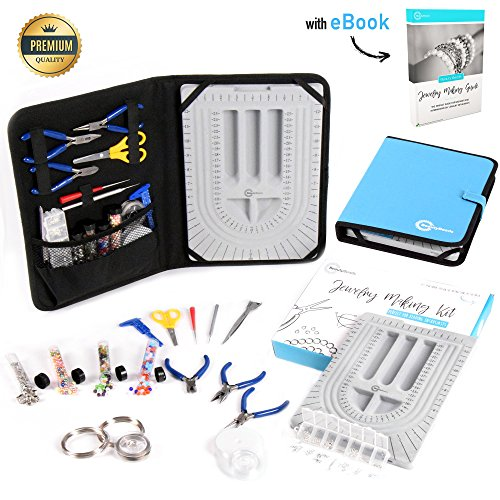 Premium Jewelry Making Kit & Supplies – Complete +30pcs Tools & Accessories Set. Make/Repair Custom & Personalized Beading Designs. Bead Design Board & Jewelry Making Guide Included
