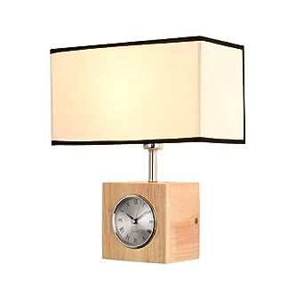 BD Massivholz Wandlampe, Nordischer Art Entwurf Still, Mit Uhr Für  Schlafzimmer /