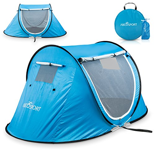 Blue pop-up tent.