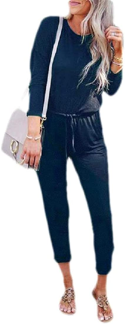 Macondoo Womens Romper Long-Sleeve Casual Crewneck Playsuit Solid Jumpsuits