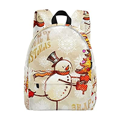 high-quality MAPOLO Merry Christmas Snowman With Tree Lightweight Travel School Backpack for Women Girls Teens Kids