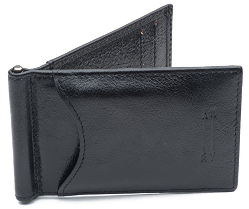 Premium Full Grain Leather Money Clip Wallet with Top Quality RFID Blocker – Slim Credit Card Holder (Black Full Grain Leather)