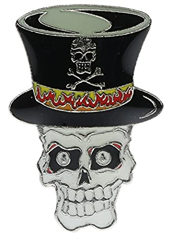 Top Hat Skull Biker Hat or Lapel Pin NovP348 - Bike Brooch Pin