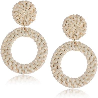 Lightweight Straw Wicker Woven Earring Braid Drop Dangle Statement Earrings Hoops Trendy Gifts for Women and Girls Rattan Earrings