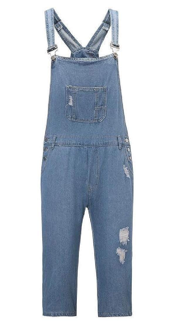 X-Future Mens Retro Overalls Ripped Straight Leg Multi Pockets Denim Shorts Jeans