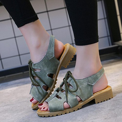 HLHN Women Sandals,Roman Fish Mouth Ankle Cross Lace up Strap Flat Low Block Heel Peep Toe Shoes Casual Vintage Lady Green