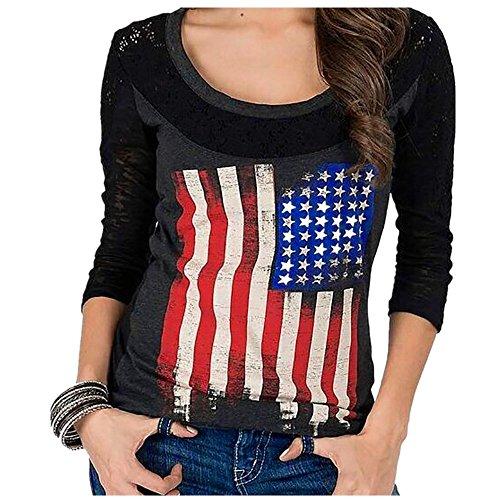 - Women Blouse,IEason 2017 Hot Sale! Women American Flag Loose Pullover Long Sleeve Lace Shirt Tops Blouse (L, Black)