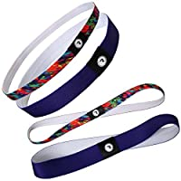 RoryTory 4 Pack Multi Color Thin & Wide Womens No Slip Exercise Workout Headband