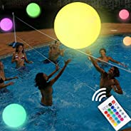 LED Beach Ball 16'' Pool Toy with Remote Control, 16 Colors Lights and 4 Light Modes, Outdoor Pool Bea