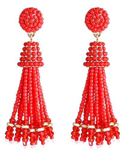 ELEARD Beaded Earrings Bead Strands Dangle Earrings Disc Bead Top Studs Soriee Beaded Tassel Ear Drop Red