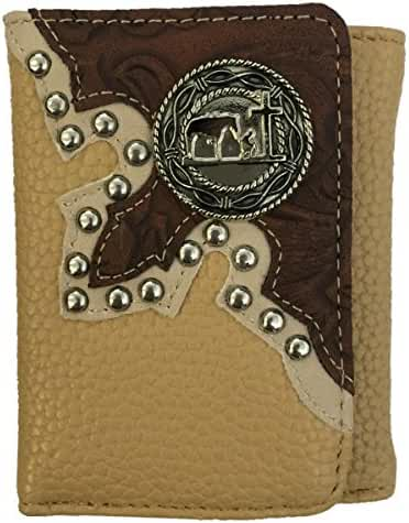 Cowboy Praying Mens Wallet Western Trifold W040-27 Leather Beige