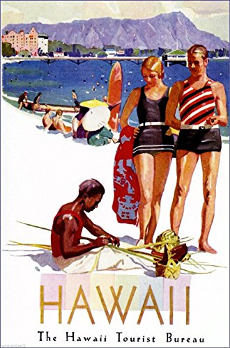 A SLICE IN TIME Hawaii Oahu Diamond Head Waikiki United States Travel Advertisement Art Poster ()