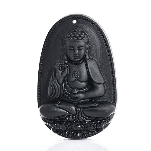 - Natural Obsidian Carved Amitabha Buddha Amulet Necklace Pendant Gift for Friends