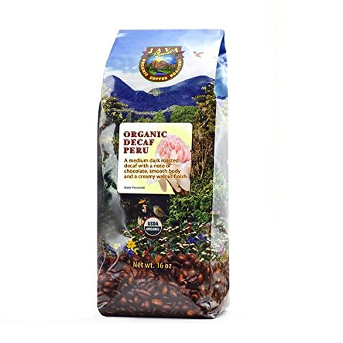 Java Planet - Decaf Coffee Peru USDA Organic Coffee Beans, Water Processed, Medium Dark Roast, Arabica Gourmet Coffee Grade A, packaged in 1 LB bag