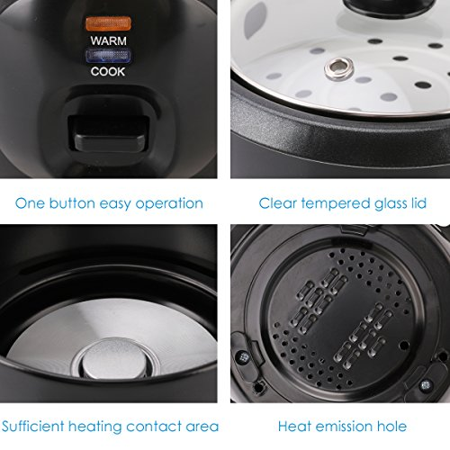 Midea 3-Cup (Cooked),1.5 Cup (Uncooked) Small Rice Cooker with Food Steamer (MRC173-B), Black by MIDEA (Image #4)