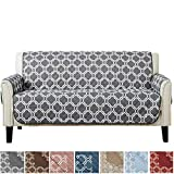 Adalyn Collection Deluxe Reversible Quilted Furniture Protector. Beautiful Print on One Side/Solid Color on The Other for Two Fresh Looks. by Home Fashion Designs Brand. (Sofa, Charcoal)