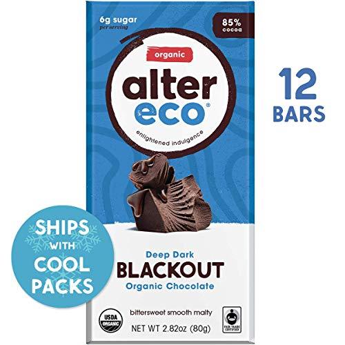 Alter Eco | Dark Blackout | 85% Pure Dark Cocoa, Fair Trade, Organic, Non-GMO, Gluten Free Dark Chocolate Bar, 12 Bars