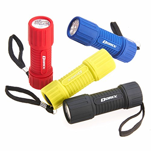 - Dorcy Weather Resistant LED Flashlight with Lanyard, 4-Pack, Assorted Colors (41-4241)
