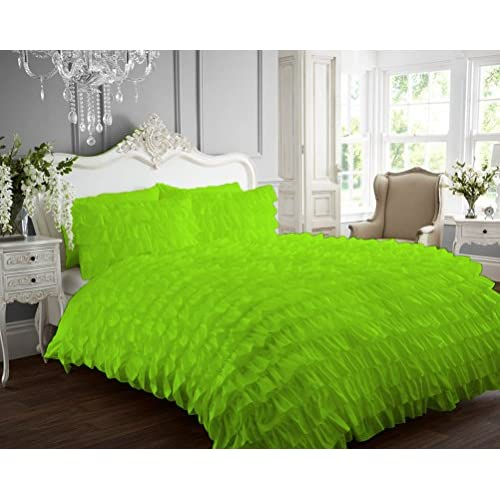 Top Kotton Culture 1000 Thread Count Luxurious 100% Egyptian Cotton Ruffle Duvet Cover (Ruffle Duvet Cover with Zipper Closure) Solid By (Parrot Green, Twin) hot sale