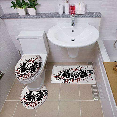 Bath mat set Round-Shaped Toilet Mat Area Rug Toilet Lid Covers 3PCS,Halloween,Teddy Bones with Skull Face and Wings Dead Humor Funny Comic Terror Design,Pearl Black Ruby ,Bath mat set Round-Shaped To ()