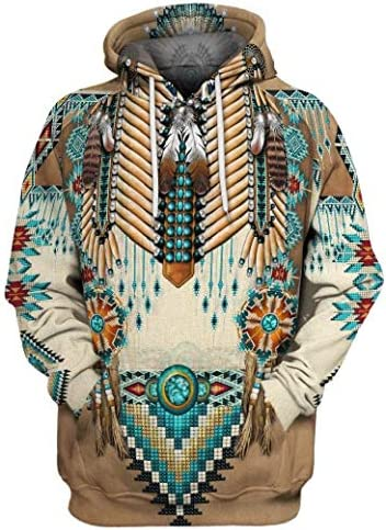 Candiyer メンズ ジップフロントジャケット デジタルプリントインディアンスタイルスウェットシャツパーカー
