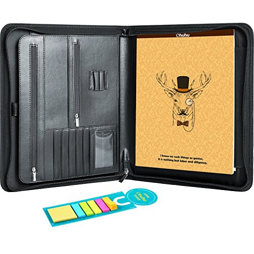 Ohuhu Business Padfolio Folder with Letter-size Writing Notepads and Sticky Notes for Resume (Desk Portfolio)