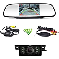 Podofo Car Backup Camera Wireless 5 Car TFT LCD Mirror Rear View Monitor with IR Night Vision Waterproof Reverse Camera