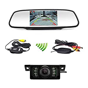 podofo car backup camera wireless 5 car tft lcd mirror rear view monitor with ir. Black Bedroom Furniture Sets. Home Design Ideas