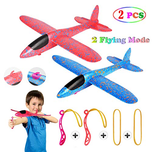 2 Pcs Aerobatic Slingshot Plane 2 Flight Mode Glider Airplane 2 Ways to Play Outdoor Flying Toy for Kids as Gift,by…