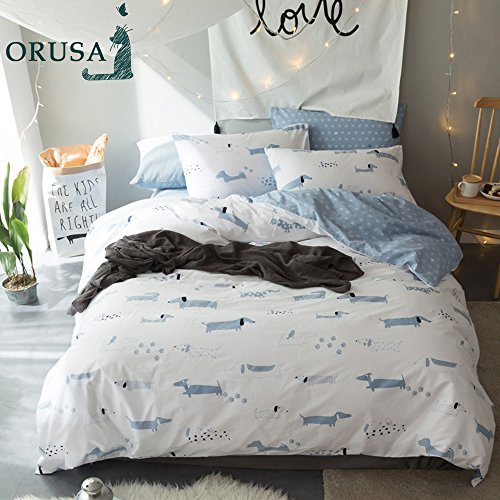 Price comparison product image ORoa Cotton Cartoon Puppy Dog Print Boys Girls Twin Bedding Sets for Kids Children Cotton 100 Percent Twin Duvet Cover Set White Blue, Cute Soft Reversible Hypoallergenic Lightweight, Twin