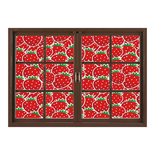 SCOCICI Wall Sticker,Window Looking Out Into/Fruits,Strawberry Themed Botany Seeds Yummy Food Organic Growth Diet Health Print Decorative,Red Hunter Green/Wall Sticker Mural ()