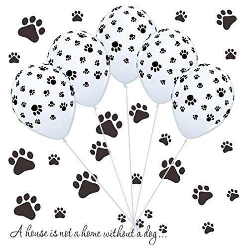 50 Dog Paw Print Balloons & Vinyl Decals Kit for Paw Patrol Birthday Party, Puppy Party, Dog Animal Rescue Events ()