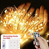 Fairy Lights 33ft 100 LED 8 Flash Modes with Decorating Clips, Remote&Timer String Lights, Flexible Led Twinkle Lights for Bedroom, Indoor, Outdoor, Patio, Garden, Gate, Yard, Parties, Wedding (USB Plug Powered)