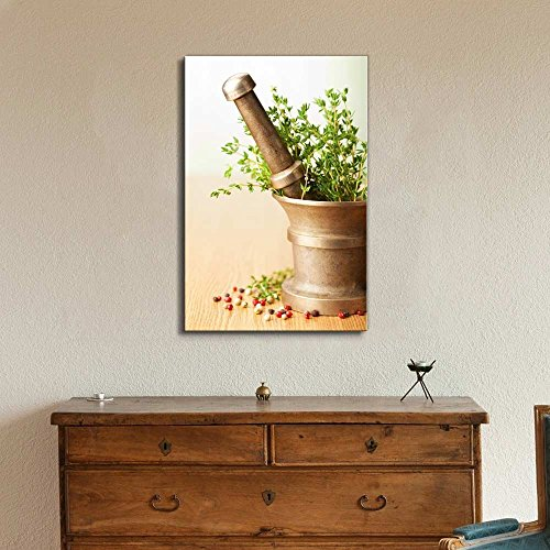 Still Life Mortar with Herbs Wall Decor