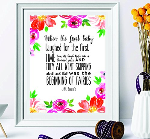 Baby Beginnings Nursery Posters (Nursery Quote Printable - newborn baby girl - When the first baby laughed - Baby Shower Gift - Fairies gifts - Children's room decor -1st birthday gifts - dad gifts - Playroom art - Instant Download)